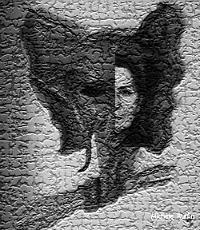 masque cuir - montage photo