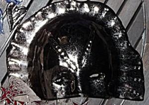 """masque """"pharaon""""  masque céramique bronze/or"""